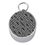 Linear Black And White Ethnic Print Mini Silver Compasses Front