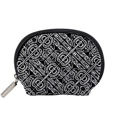 Linear Black And White Ethnic Print Accessory Pouch (small) by dflcprintsclothing