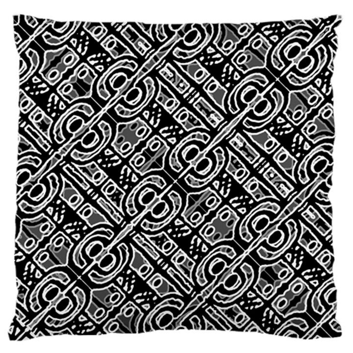 Linear Black And White Ethnic Print Standard Flano Cushion Case (Two Sides)