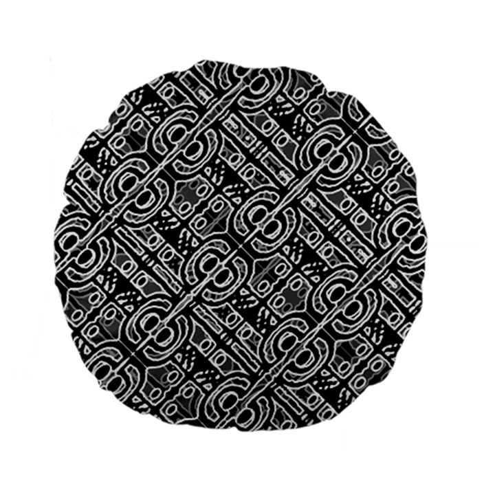 Linear Black And White Ethnic Print Standard 15  Premium Flano Round Cushions