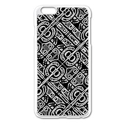 Linear Black And White Ethnic Print Iphone 6 Plus/6s Plus Enamel White Case by dflcprintsclothing