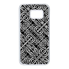 Linear Black And White Ethnic Print Samsung Galaxy S7 White Seamless Case