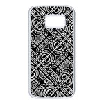 Linear Black And White Ethnic Print Samsung Galaxy S7 White Seamless Case Front