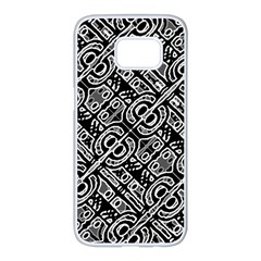 Linear Black And White Ethnic Print Samsung Galaxy S7 Edge White Seamless Case
