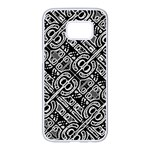 Linear Black And White Ethnic Print Samsung Galaxy S7 edge White Seamless Case Front