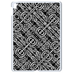 Linear Black And White Ethnic Print Apple Ipad Pro 9 7   White Seamless Case