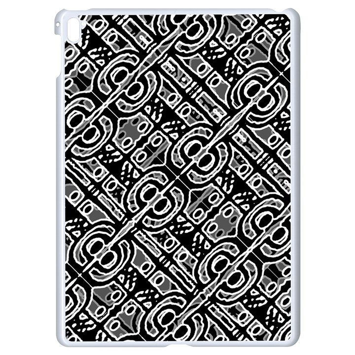 Linear Black And White Ethnic Print Apple iPad Pro 9.7   White Seamless Case