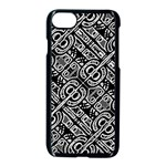Linear Black And White Ethnic Print iPhone 8 Seamless Case (Black) Front
