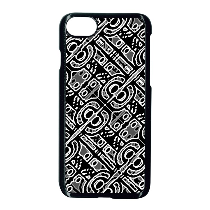 Linear Black And White Ethnic Print iPhone 8 Seamless Case (Black)