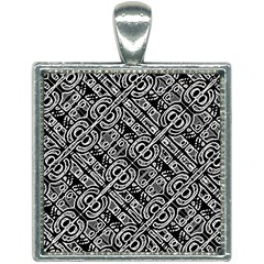 Linear Black And White Ethnic Print Square Necklace by dflcprintsclothing