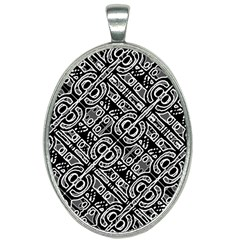 Linear Black And White Ethnic Print Oval Necklace by dflcprintsclothing