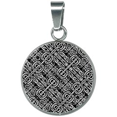 Linear Black And White Ethnic Print 20mm Round Necklace by dflcprintsclothing