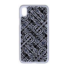 Linear Black And White Ethnic Print Iphone Xr Seamless Case (white)