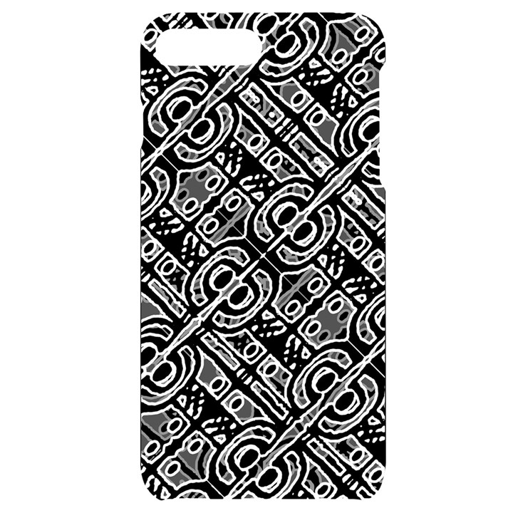 Linear Black And White Ethnic Print iPhone 7/8 Plus Black UV Print Case