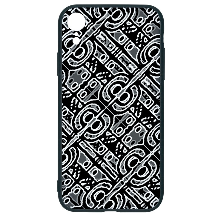 Linear Black And White Ethnic Print iPhone XR Soft Bumper UV Case