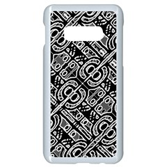 Linear Black And White Ethnic Print Samsung Galaxy S10e Seamless Case (white)