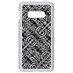 Linear Black And White Ethnic Print Samsung Galaxy S10e Seamless Case (White) Front