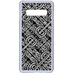 Linear Black And White Ethnic Print Samsung Galaxy S10 Plus Seamless Case(White) Front