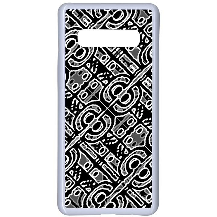 Linear Black And White Ethnic Print Samsung Galaxy S10 Plus Seamless Case(White)