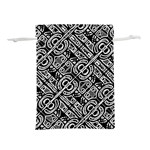 Linear Black And White Ethnic Print Lightweight Drawstring Pouch (M) Front