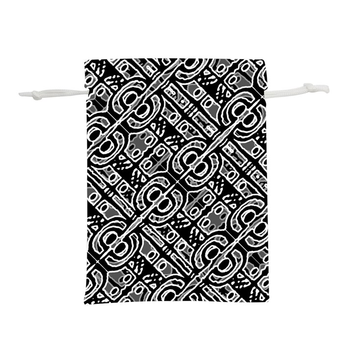 Linear Black And White Ethnic Print Lightweight Drawstring Pouch (M)