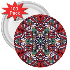 Mandala 3  Buttons (100 Pack)