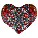 Mandala Large 19  Premium Flano Heart Shape Cushions Back