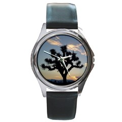 Joshua Tree Round Leather Watch (silver Rim)