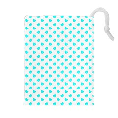 White Light Blue Hearts Pattern, Pastel Sky Blue Color Drawstring Pouch (xl)
