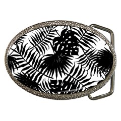 Black And White Tropical Leafs Pattern, Vector Image Belt Buckles by Casemiro