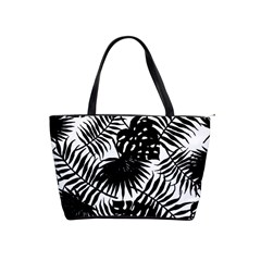 Black And White Tropical Leafs Pattern, Vector Image Classic Shoulder Handbag