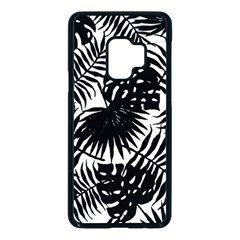 Black And White Tropical Leafs Pattern, Vector Image Samsung Galaxy S9 Seamless Case(black)