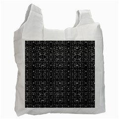 Black And White Ethnic Ornate Pattern Recycle Bag (one Side) by dflcprintsclothing