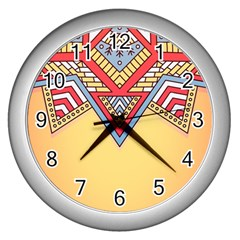 Yellow Mandala Wall Clock (silver)