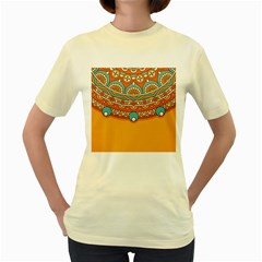 Sunshine Mandala Women s Yellow T-shirt