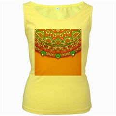 Sunshine Mandala Women s Yellow Tank Top