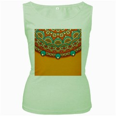 Sunshine Mandala Women s Green Tank Top