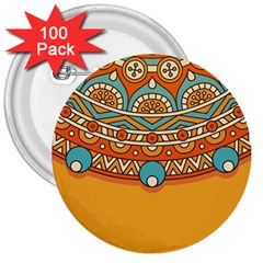 Sunshine Mandala 3  Buttons (100 Pack)