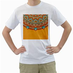 Sunshine Mandala Men s T-shirt (white) (two Sided)