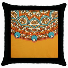 Sunshine Mandala Throw Pillow Case (black)