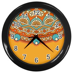 Sunshine Mandala Wall Clock (black)