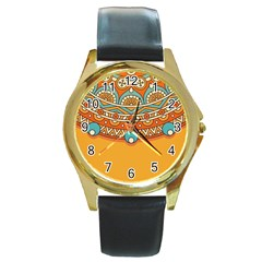 Sunshine Mandala Round Gold Metal Watch