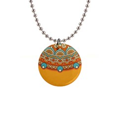 Sunshine Mandala 1  Button Necklace