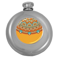 Sunshine Mandala Round Hip Flask (5 Oz)