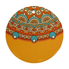 Sunshine Mandala Round Ornament (two Sides)