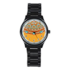 Sunshine Mandala Stainless Steel Round Watch