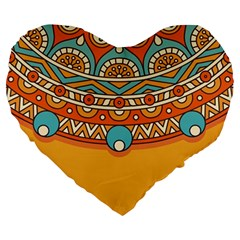 Sunshine Mandala Large 19  Premium Flano Heart Shape Cushions