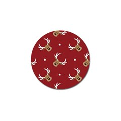 Cute Reindeer Head With Star Red Background Golf Ball Marker (10 Pack) by BangZart
