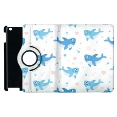 Seamless Pattern With Cute Sharks Hearts Apple Ipad 2 Flip 360 Case