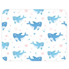 Seamless Pattern With Cute Sharks Hearts Double Sided Flano Blanket (medium)